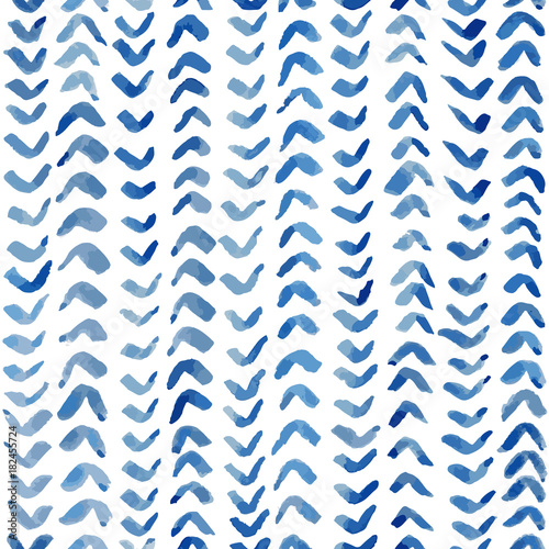 Blue ink textured background. Seamless vector pattern