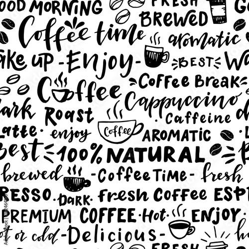 Tapety z jedzeniem i napojami bezszwowy-wzor-slowa-o-kawie
