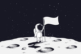 astronaut with flag stands on moon.Hand drawn vector illustration - 182468952