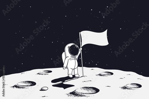 Fotografía astronaut with flag stands on moon.Hand drawn vector illustration