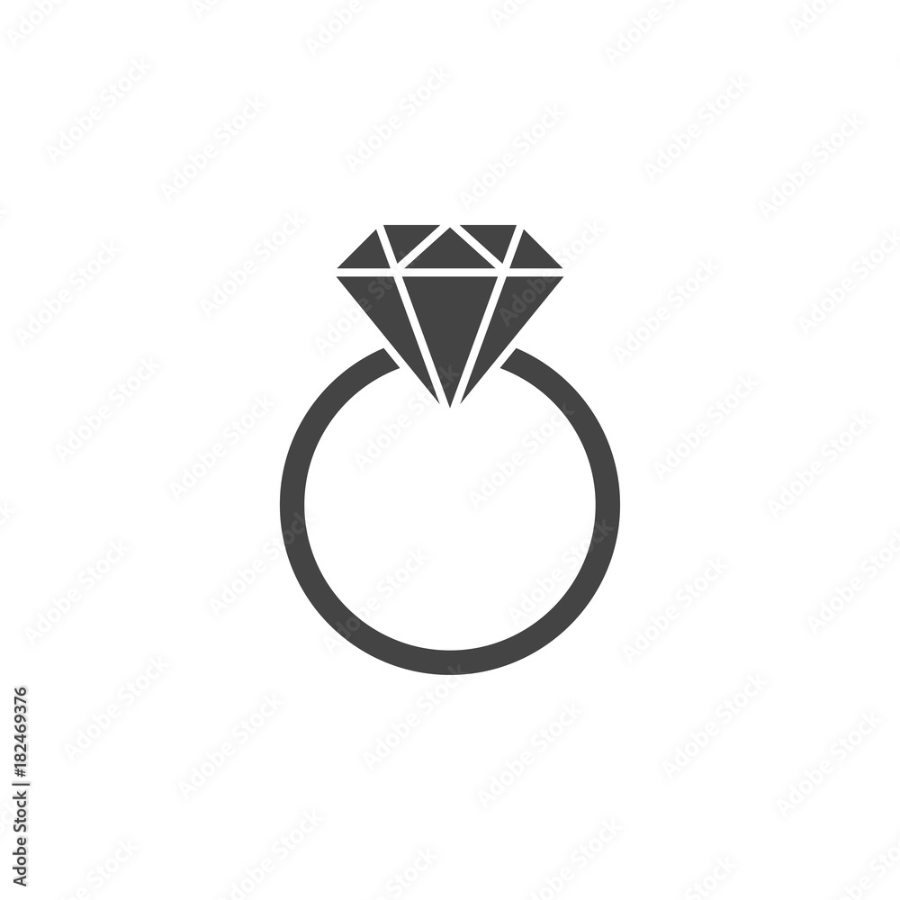 Fototapety, obrazy: Ring with gemstone silhouette, icon