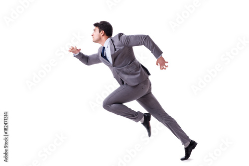 Foto  Young businessman running forward isolated on white