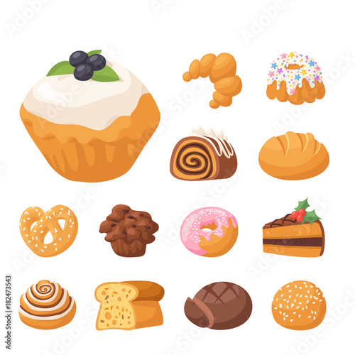 Cookie vector cakes tasty snack delicious chocolate homemade cookie pastry biscuit cakes sweet dessert bakery food illustration Fototapete
