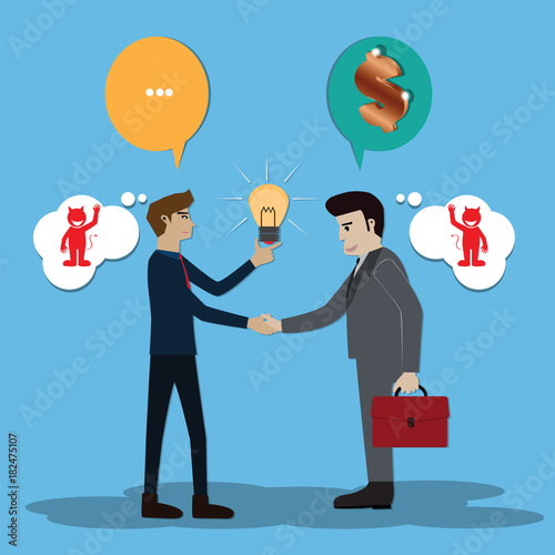 Fotomural Thinking concept,two businessmen talking and think devil - vector