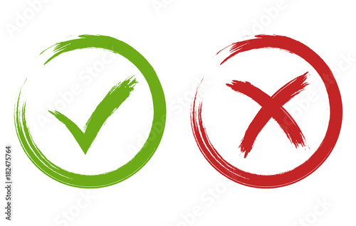 Fotografie, Obraz  Tick and cross signs. Green and red checkmark vector
