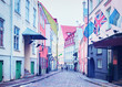 Street with flags at Old city of Tallinn