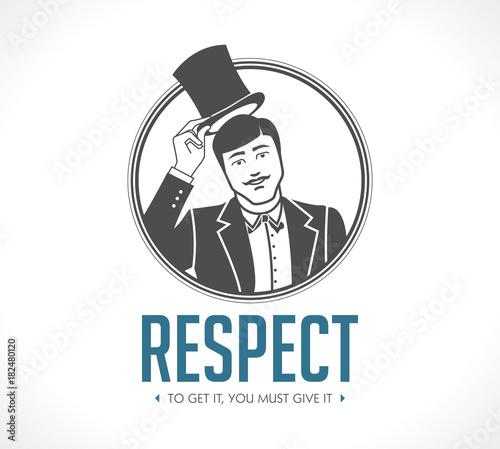 Obraz na plátně Respect logo - concept sign - man taking off his hat - icon