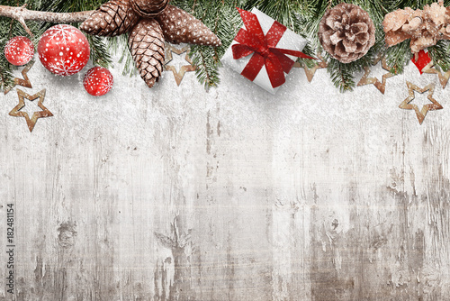 Christmas Background With Pine Cones Fir Branches