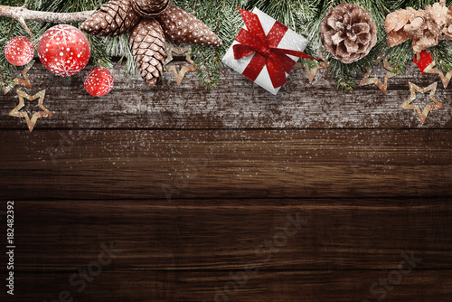 Wooden Desk With Christmas Decorations Above Free Space For