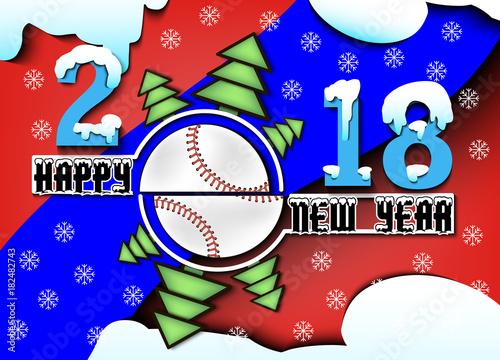 Photo  Happy new year 2018 and  baseball