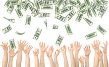 Many Hands Are Catching Money In The Air On A White Background