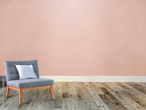 Fototapeta empty room interior design, stone wall for home, hotel, office. 3d illustration obraz na płótnie