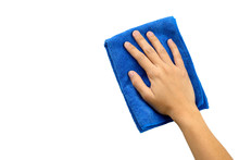 Hand And Blue Rag Cleaning Wall