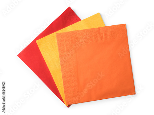 Fototapeta Colored paper napkins on white