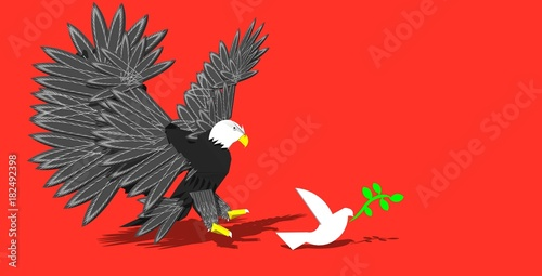 Poster eagle spread wing and white pigeon with olive like war and peace arms and empty hand in isolate background 3d illustration