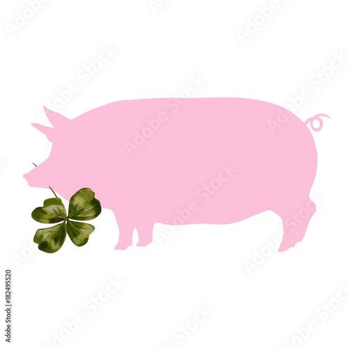 Fotografie, Obraz  Schwein als Glücksbringer - Hausschwein mit Kleeblatt - grafisches Element beste