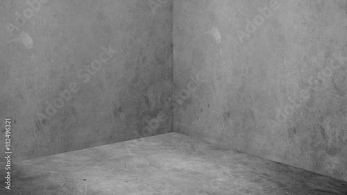 Empty corner room with grey concrete wall and floor background,Mock up studio ro Wallpaper Mural