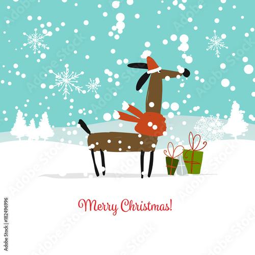 Fototapeta Christmas card, santa dog with gifts. Symbol of 2018 obraz na płótnie