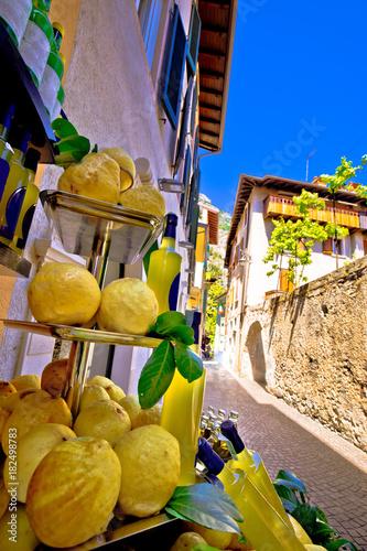 Lemons and lemon domestic products on street of Limone sul Garda