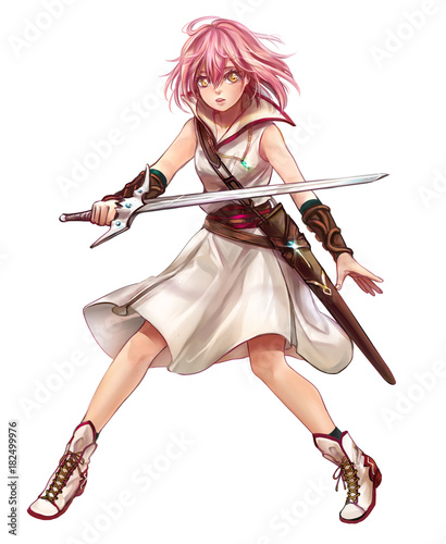Cute original character design of fantasy female girl warrior or swordswoman magic fencer knight named Lenaria in Japanese manga illustration style with isolated white background - 182499976