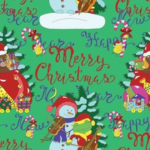 Seamless Pattern With Singing Snowman And Frog, Deer With Gifts And Lettering. Christmas And New Year Background For Greeting Cards, Posters, Invitations