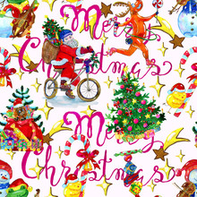 Seamless Pattern With Santa On Bike, Puppy In Bag With Gifts, Singing Frog And Snowman, Happy Chicken With Candy. Christmas And New Year Background For Greeting Cards, Posters, Invitations