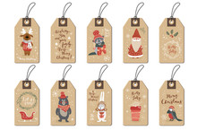 Christmas Tags Set, Cartoon Ha...