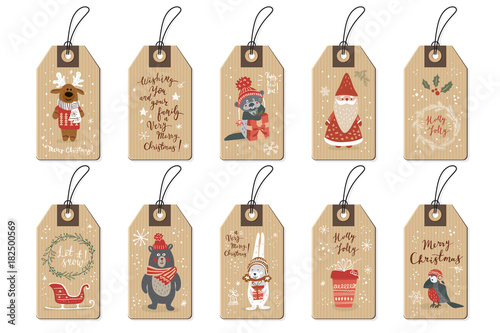Stampa su Tela  Christmas tags set, cartoon hand drawn style