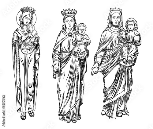 Christmas Jesus Birth Drawing.Set Of Nativity Scene With Holy Mother Christmas Card Saint