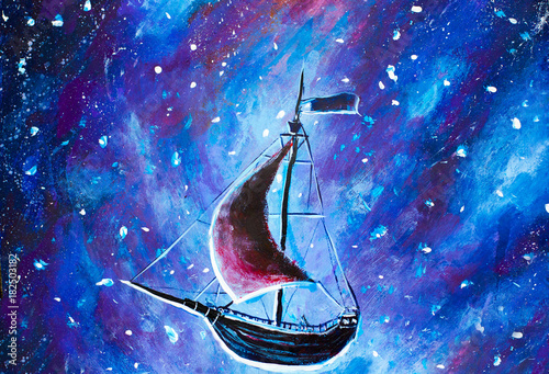 Original oil painting Flying an old pirate ship Canvas Print