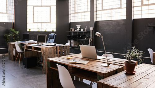 Interior of a large contemporary office space with no employess Canvas Print