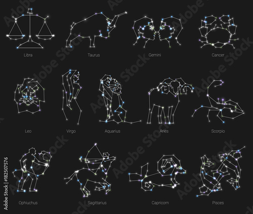 Fotografía Horoscope, all Zodiac animals in constellation forms with line and stars