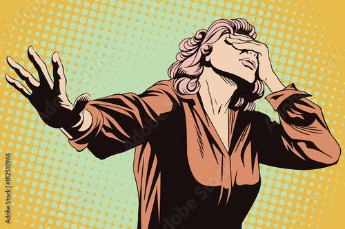 Fotografía  Frightened woman with her hand extended. Stock illustration.