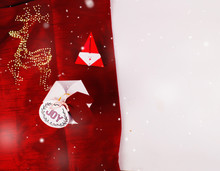 Christmas Decoration With Hexagonal Gift Boxes And Red Scarves Cloth With Snow For Holidays Best Background Image For Holiday Invitation And Banners