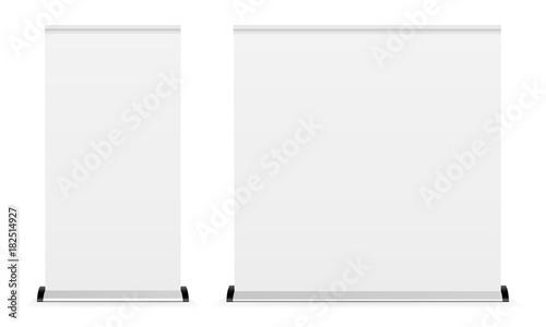 Fotografie, Obraz  Blank roll-up banner isolated on white background