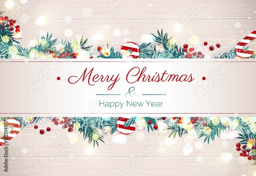 Merry christmas and Happy new year holiday background. Happy ...