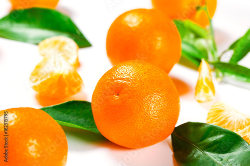 Ripe Orange Tangerine (Mandarin) With Leaves Close-up On The White Background.