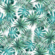 canvas print picture - Seamless pattern with leaves and brunches of tropical plants and trees