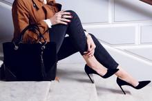 Closeup Legs Woman In Black Hi...