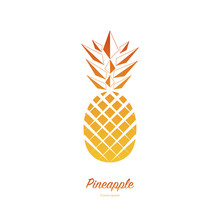 Pineapple Isolated On White Background. Exotic Tropical Summer Fruit. Trendy Vector Illustration. Used Illustration For Typography, Wallpaper, Invitations.