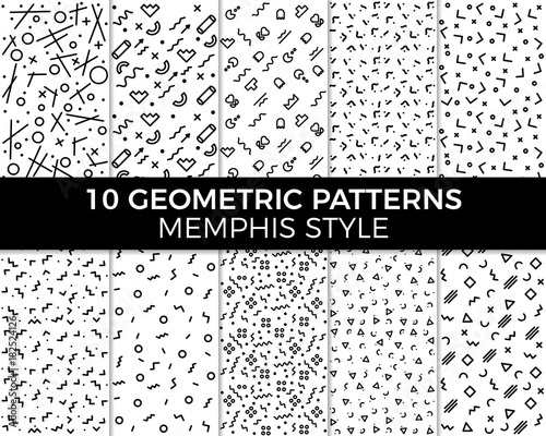 Fototapeten Künstlich Collection of vector abstract geometric patterns in Memphis style. 80's and 90's designs in black and white can be used for backgrounds, banners, textile, flyers, cards, etc