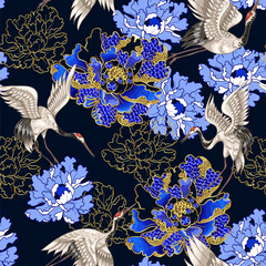 FototapetaSeamless pattern with Japanese white cranes and peony, embroidered sequins