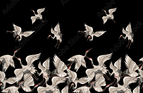 Fotografia  Seamless pattern with Japanese white cranes in different poses for your design (