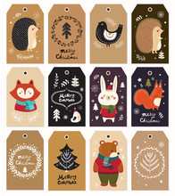 Tagged Illustration With Cute Animals And Christmas Elements