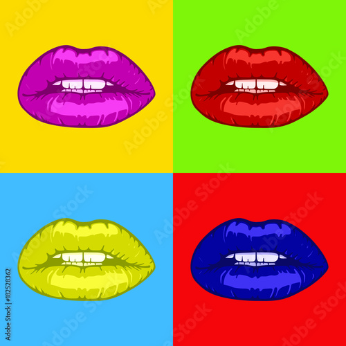 Fotografie, Obraz  hot woman lips pop art background