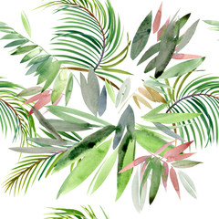 FototapetaTropical plant. exotic watercolor background. paradise nature.