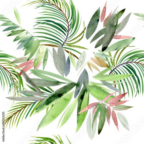 tropikalna-roslina-egzotyczne-tlo-akwarela-natura-raju