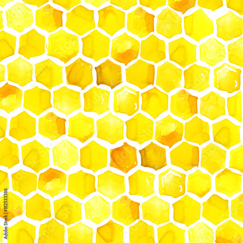 Cotton fabric honeycomb watercolor illustration