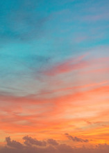 Pastel Colors Ocean Sunset, Warm And Cyan Clouds Sky Heaven