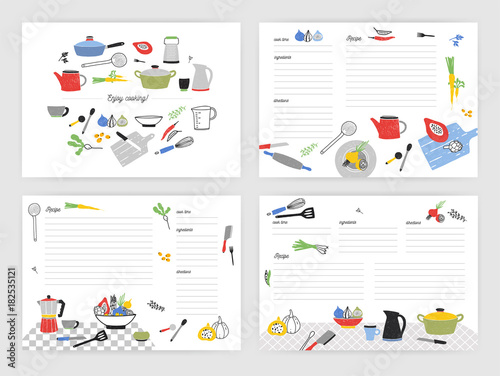 Collection of card templates for making notes about